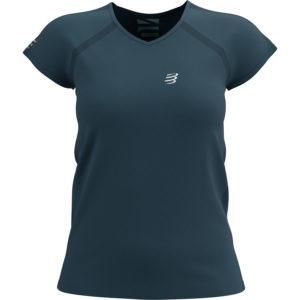 Футболка жіноча Compressport Training Tshirt SS W - Born To SwimBikeRun 2021, Blue Heaven/Opal