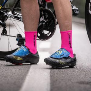Шкарпетки компресійні Compressport Pro Racing Socks V3.0 Bike, Fluo Pink